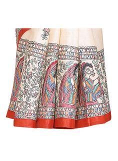 Madhubani painting on saree Saree Painting, Kalamkari Painting, Fabric Painting, Madhubani Art, Madhubani Painting, Saree Blouse Designs, Folk Art, Sarees, Adhesive