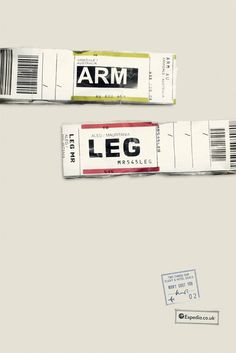A fantastic print campaign for Expedia by Ogilvy & Mather that uses airport IATA codes to form clever travel-related phrases via Plenty of Colour