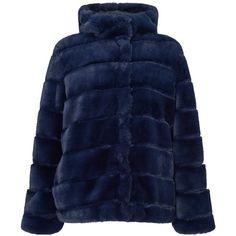 Samsoe & Samsoe Saba Faux Fur Coat ($315) ❤ liked on Polyvore featuring outerwear, coats, hooded coat, over coat, slim fit overcoat, slim coat and fake fur coats