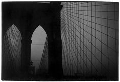 Creator Gedney, William Gale, 1932-1989  Brooklyn Bridge towers and cables at night.  Date ca. 1960