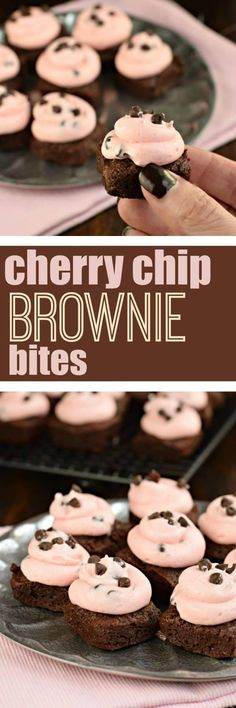 Chocolate, fudgy homemade Cherry Chip Brownies! These two bite brownies are sweet and adorable for Valentine's Day!