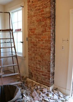 How to expose brick chimney under plaster walls. exposed brick - Home Projects We Love Brick Fireplace, Brick Chimney, Home Improvement, Home Remodeling, Plaster Walls, Old House, Exposed Brick, Old Bricks, Fake Brick Wall