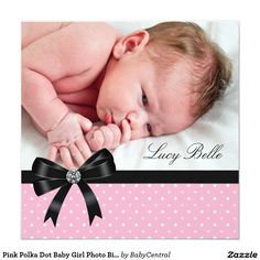 Pink Polka Dot Baby Girl Photo Birth Invitation