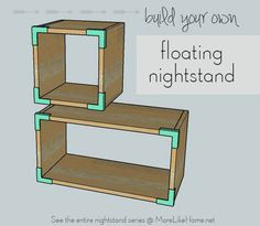 Build your own floating nightstand, or check out the other 17 nightstand plans! {MoreLikeHome.net}
