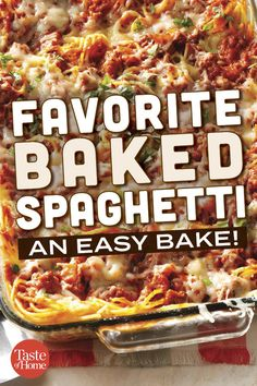 This yummy baked spaghetti casserole will be requested again and again for potlucks and family gatherings. Easy Baked Spaghetti, Baked Spaghetti Casserole, Spaghetti Sauce, Baked Spaghetti And Meatballs, Baked Spaghetti Recipes, Baked Spaghetti With Ricotta, Italian Casserole, Easy Casserole Recipes, Casserole Dishes