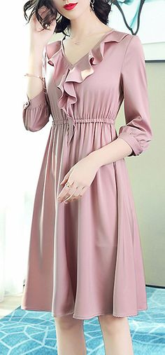 Sweet V-Neck Falbala Pure Color A-Line Dress
