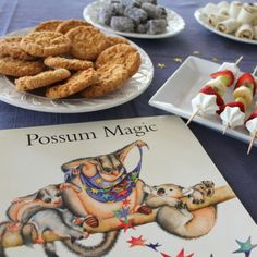 """possum morning tea- a tea set up to follow a childrens book, I have never heard of any of these """"foods"""" but am excited to find them and try them"""