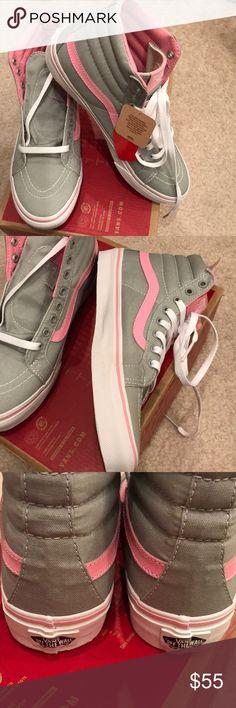NWT Vans grey and pink sk8-hi slim classics sz8 New in box with no lid Vans Sk8-hi slim classics in grey and pink. Size 8. No Trades. Vans Shoes Sneakers