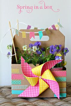 Spring in a box from a Sonic drink carrier!  Fun Easter basket idea or teacher's gift.