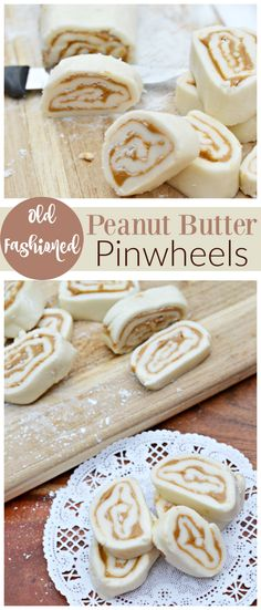 Enjoy this time-honored recipe for peanut butter pinwheels. They are a sugary sweet confection that are simples version of the old fashioned potato candy--minus the potatoes that are found in many traditional variations of the recipe. Peanut Butter Candy, Peanut Butter Recipes, Recipe For Peanut Butter Roll, Peanut Butter Pinwheel Candy Recipe, Köstliche Desserts, Delicious Desserts, Dessert Recipes, Holiday Baking, Christmas Baking