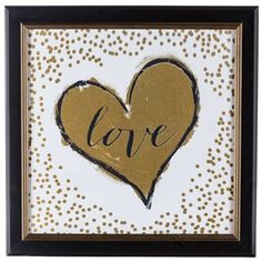 Gold Heart with Confetti Framed Art