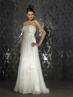Strapless Embroidery Column Lace Empire Waist Wedding Dress