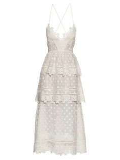 The Daily Frock: Self-Portrait Tiered Lace White Midi Dress Long White Cocktail Dress, Midi Cocktail Dress, White Midi Dress, Lace Dress, Lace Ruffle, Lace Summer Dresses, Trendy Dresses, Midi Dresses, Dress Summer