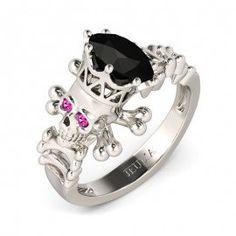 Round Cut Created Black Diamond with Fuchsia Sapphire Sidestone Skull Ring
