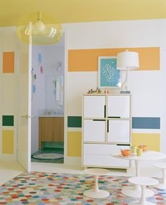 Wonderful View Of Kids Play Room Near Clear Contemporary Kids Furniture Along With Wide Yellow Glass Lamp