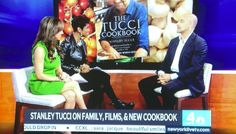 Sara Gore in Donna Morgan on New York Live! while interviewing Stanley Tucci