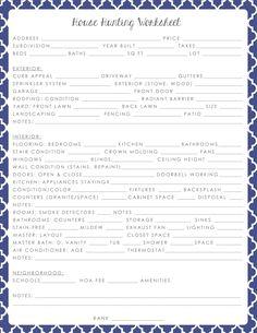 Simply Clarke: House Hunting Worksheet Printable