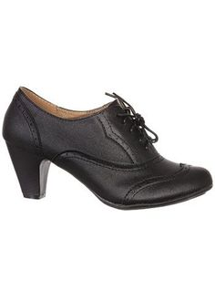 54f90e7cc21 Coal Mill Lace-Up Oxford Heels by Refresh Shoes, Shoes, Black Vintage Sko
