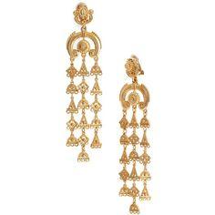 Women's Oscar De La Renta Ornate Charm Chandelier Clip Earrings ($325) ❤ liked on Polyvore featuring jewelry, earrings, gold, chandelier earrings, drop earrings, yellow gold drop earrings, gold jewelry and gold charms