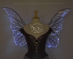 Clarion Iridescent Light Up Fairy Wings in Clear with Black Veins