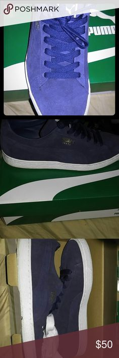 Puma suede Blue and white classic puma suedes in good condition 100% authentic Puma Shoes Sneakers