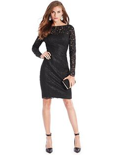 Instantly up the romance factor with this seductively shimmering black Guess lace dress.