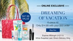 PLANING A VACATION? This 6-piece kit is perfect for that vacation.  Online Exclusive 6-piece kit only $14.99 with your $50 order www.youravon.com.virgsalazar