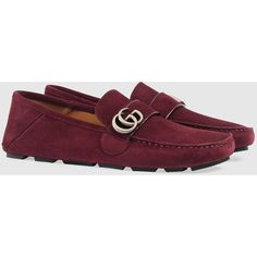 Gucci Suede Driver With Double G ($530) ❤ liked on Polyvore featuring men's fashion, men's shoes, men's loafers, mens suede driving shoes, mens suede shoes, gucci mens shoes, mens driving shoes and mens driver shoes
