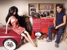 1/6 scale Barbie KEN GARAGE... custom OOAK dollhouse diorama furniture car creation by CHANIKAVA / Anastacia Leigh