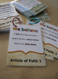 Printable Article of Faith cards