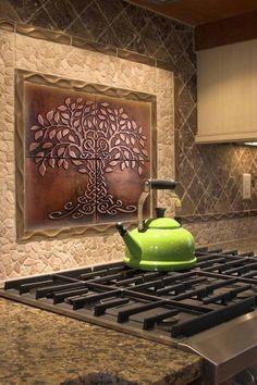 Tree of Life Kitchen Backsplash Tiles - set of 20 – MyMetalCraft Casa Patio, Copper Decor, Copper Art, Life Kitchen, Metal Tree Wall Art, Metal Art, Mediterranean Home Decor, Tuscan Decorating, Kitchen Tiles