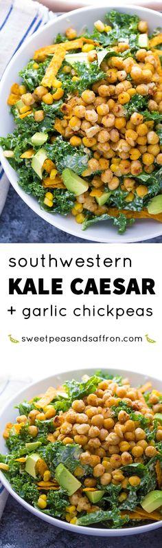 Southwestern Kale Chickpea Salad with Greek Yogurt Caesar Dressing, an easy 30 minute dinner recipe!
