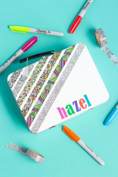 Use color-your-own washi tape to make a personalized pencil box - perfect for…