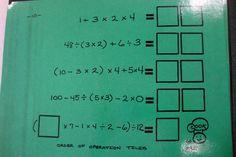 6th grade math - Order of Operations manipulatives