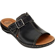 57ec3666502 Clarks Leather Slip-on Sandals with Buckle Detail - Leisa Gianna