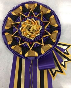 CDNA - purple, deep gold, black with side flags & folds Ribbon Making, How To Make Ribbon, Ribbon Rosettes, Appreciation Quotes, Dog Show, Origami Paper, Fabric Flowers, Badges, Festivals