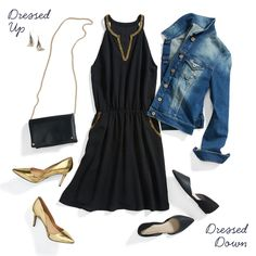 Time for your LBD to shine! Metallic detailing makes a little black dress even more fitting for a festive gathering. Bring out the richness of gold piping by pairing the dress with matching metallic pumps.