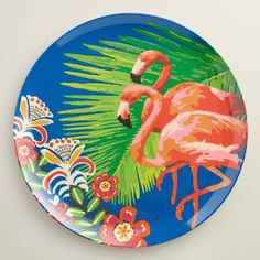 One of my favorite discoveries at WorldMarket.com: Flamingo Melamine Dinner Plates Set of 4