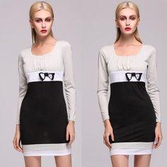 Stylish Lady Women's Casual New Fashion Long Sleeve Square Dress