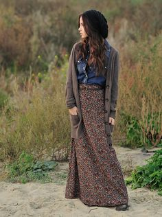 maxi skirt & a long cardi, so cute!