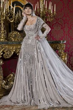 Furthermore, Bridal Wedding Dresses can be pleated yet others can be flared. Check out the full collection of Abed Mahfouz Wedding Dresses Collection. Abed Mahfouz, Colored Wedding Dresses, Bridal Dresses, Wedding Attire, Wedding Gowns, Bling Wedding, Off Shoulder Wedding Dress, Silver Gown, Yes To The Dress