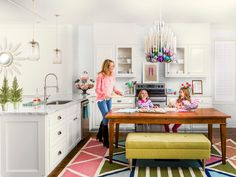 Pretty ball ornaments are loaded into a #kitchen chandelier during the #holidays #hgtvmagazine // http://www.hgtv.com/design/make-and-celebrate/holidays/a-sweet-spin-on-holiday-decorating-pictures?soc=pinterest