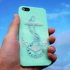 Anchor iPhone Case - Bling iPhone Case - Mint iPhone Case - Rhinestone Samsung Galaxy S2 S3,S4 Case