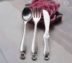 Tiny spoons metal fork and knife Pendant small fork