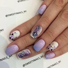 #nailart #fadingnails #handpainted #feather #peacock #polkadots #handpaintednails #Padgram