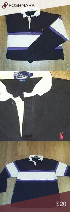 Ralph Lauren rugby large Vintage rugby by Ralph Lauren polo black shows fading but expected Ralph Lauren Shirts