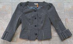 Anthoropologie Taikonhu Blazer Jacket Womens Size 2 Black and White Polka Dots