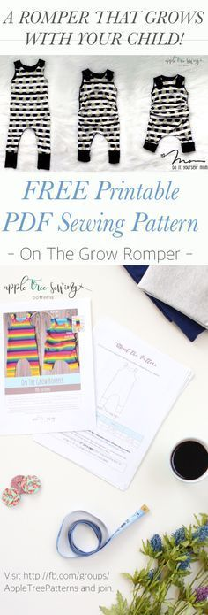 FREE printable PDF sewing pattern download for a romper that grows with your child! The On The Grow Romper from Apple Tree Sewing is available in the 3-12 month size FOR FREE! Perfect for your growing baby. You can also purchase the full pattern with all 3 Grow-with-Me sizes in our Etsy shop (AppleTreePatternCo.etsy.com).