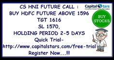 CS HNI FUTURE CALL : BUY HDFC FUTURE ABOVE 1596  TGT 1616  SL 1570,HOLDING PERIOD 2-5 DAYS  Quick Trial- http://www.capitalstars.com/free-trial Register Now...!!!