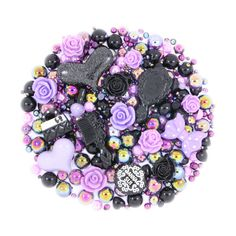 Super cute BEWITCHING BEAUTY Purple & Black all-in-one craft kit, cabochons & sparkling pearls. Buy here:https://www.candy-crystal.co.uk/kawaii-cabochons/sparkle-sets/bewitching-beauty-10-cabochons-15g-rhinestone-pearl-set-kit-diy-deco-kawaii-craft.html #crafts #crafting #craft #craftkit #craftset #decoden #kawaii #kitsch #cuteness #sparkle #bling #decoration